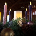 Our wonderful Advent wreath lit up for the season