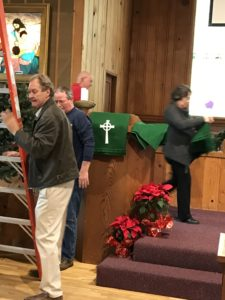 Christmas Decorations being taken down